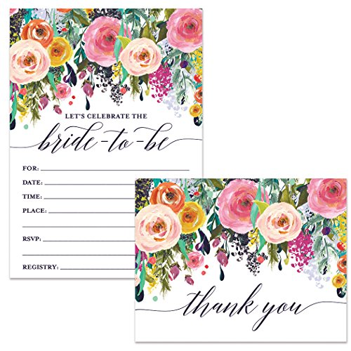 Bride-to-Be Shower Invitations & Folded Thank You Cards (25 of Each) Lovely Matching Set with Envelopes Wedding Party Bridal Maid of Honor Fill-in-Style Invites & Thank You Notes Excellent Value