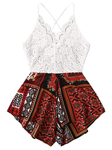 SheIn Women's Boho Crochet V Neck Halter Backless Floral Lace Romper Jumpsuit Medium Scarf Print