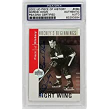 Gordie Howe 'Mr Hockey' Signed Card 2002 Ud Piece Of History Slabbed - PSA/DNA Certified - Hockey Slabbed Autographed Rookie Cards