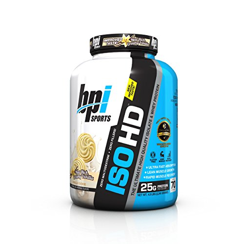 BPI Sports ISO HD The Ultimate High Quality Isolate & Whey Protein, Vanilla Cookie, 4.9 Pound