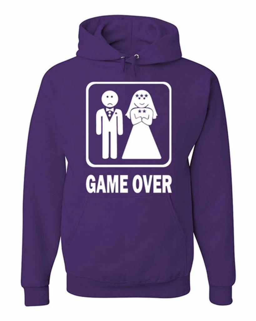Game Over Funny Sweatshirt Groom And Bride Wedding Gift Hoodie Hudband Wife Honeymoon M Purple