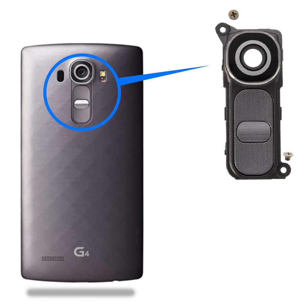 MMOBIEL Reemplazo de Lente de Vidrio para cámara Trasera para LG G4 H610 H811 H812 H815 (Negro/Gris) + Juego de Soporte de Cubierta Incl. ...