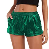 FarJing Women Fashion High Waist Yoga Sport Pants Leggings Metallic Shiny Pants Shorts (M,Green)