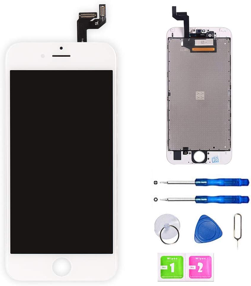 for iPhone 6S Screen Replacement White 4.7 Inch, LCD Display with 3D Touch Screen Digitizer Assembly Include Full Set Repair Tools