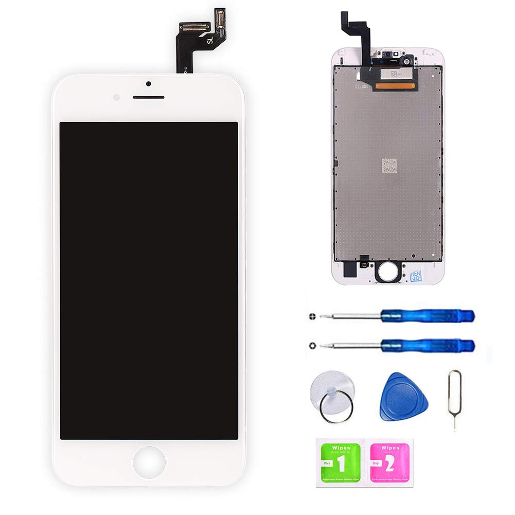 free shipping 33798 b85f8 FFtopu Screen Replacement for iPhone 6S (4.7 Inch) White - LCD Display  Screen + Touch Digitizer Assembly with Full Set Repair Tools and Screen ...
