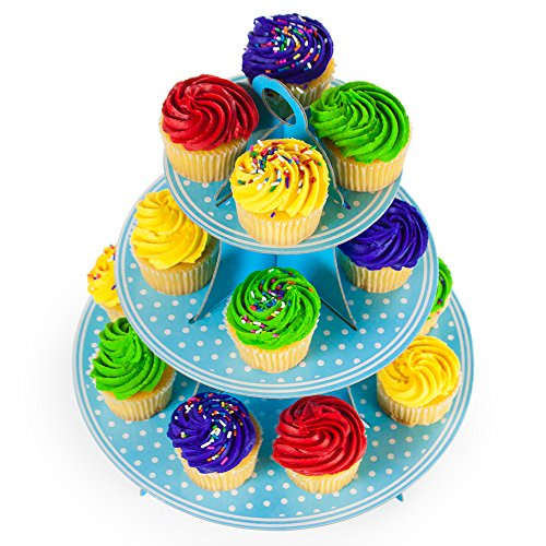 Pudgy Pedro's Blue 3 Tier Cupcake Stand Party Supplies (Polka Dot), 14 x (Blue Cupcake Stand)