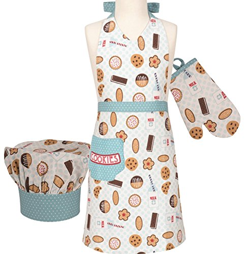 Kids Holiday Apron Set - Handstand Kitchen Child's 'Milk and Cookies' 100% Cotton Apron, Mitt and Chef's Hat Gift Set