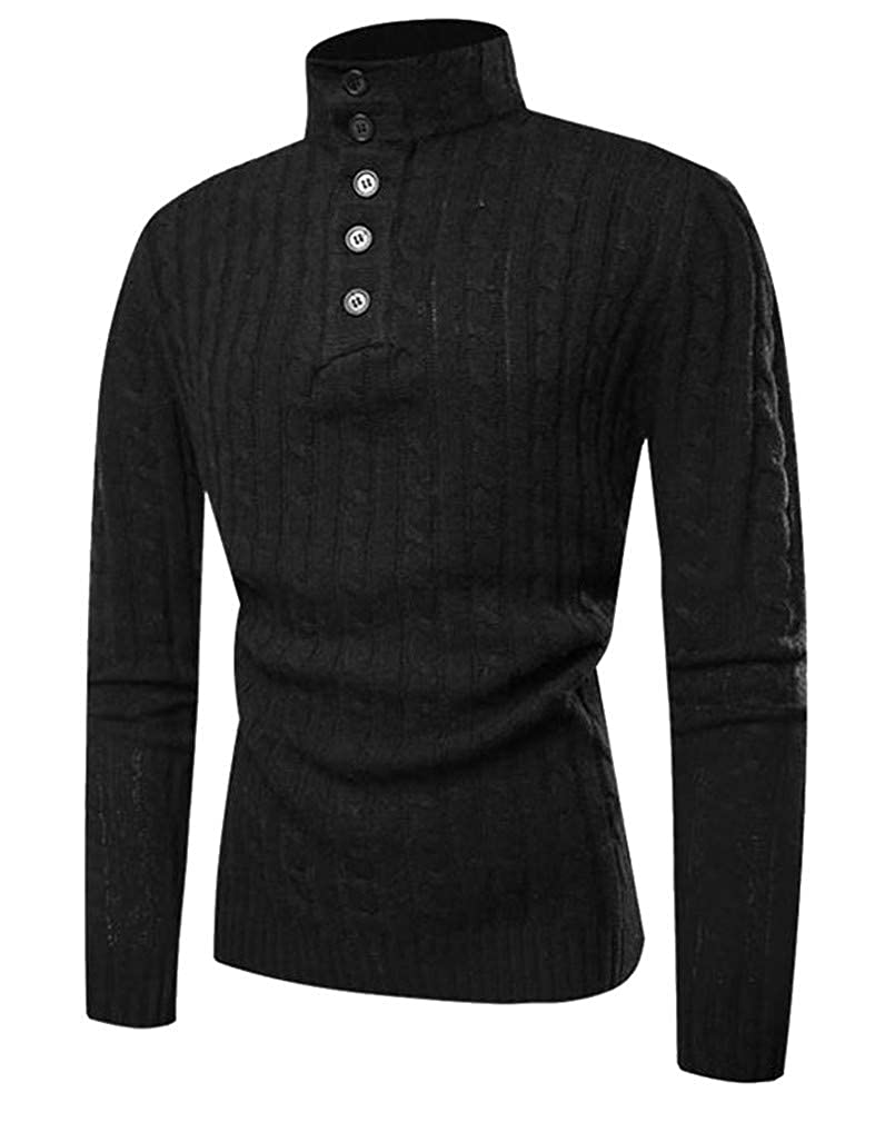 Cromoncent Men High Neck Knitted Button Casual Striped Pullover Jumper Sweaters