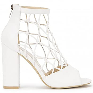 2e651c7439 Shoe Closet White PU Caged Cut Out Ankle High Strappy Sandals Peep Toes Block  Heel High