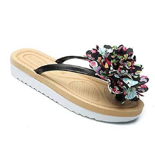 Btrada Kvinners Blomst Flip Flops-sommer Skli Flats- Mote Strand Sandal Sort