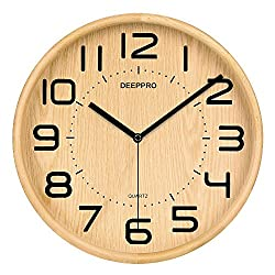 DEEPPRO Silent Wall Clock Wood 12-inches Diameter Non Ticking Digital Quiet Sweep Decorative Vintage Wooden Clock (Natural)