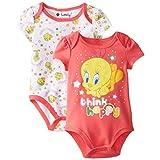Warner Brothers Baby Girls Newborn Tweety Bird 2 Pack Bodysuit