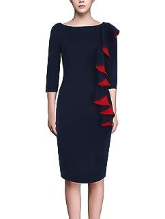 Bleistiftkleid Damen Elegante Slim Paket Hüfte Abendkleider Knielang 3 4  Ärmel Rundhals mit Rüschen Fashion 22935eb1f9