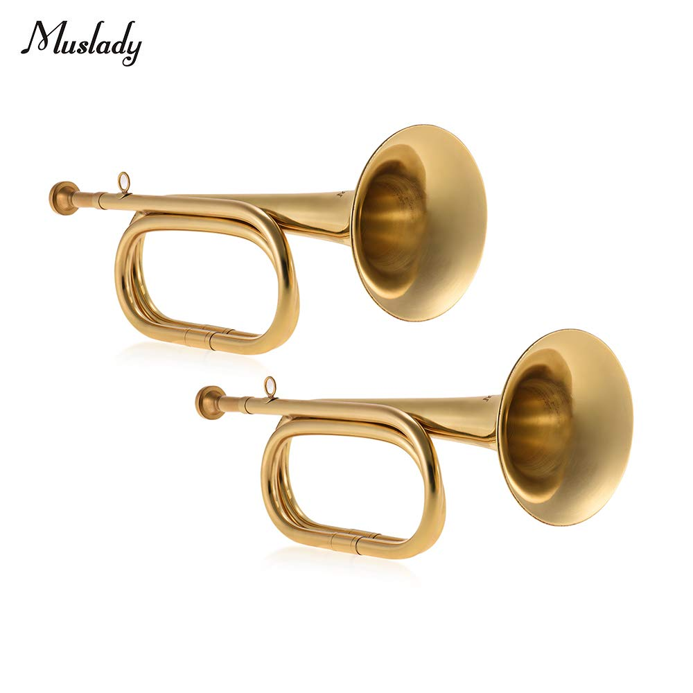 Bugle,Brass B Flat Cavalry Horn Trumpet with Mouthpiece Gold, 2pcs/ Pack