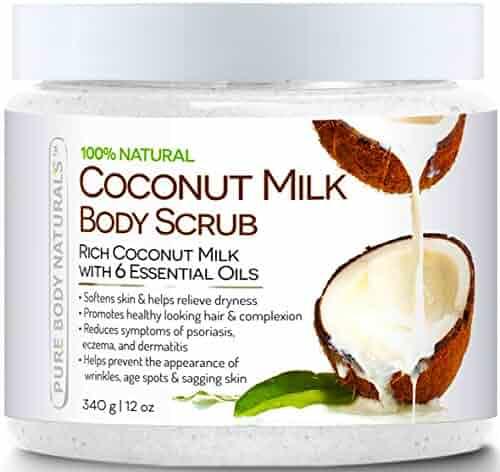 Pure Body Naturals Coconut Milk Body Scrub with Dead Sea Salt, Almond Oil and Vitamin E for All Skin Type, 12 oz