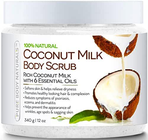 Pure Body Naturals Coconut Milk Body Scrub with Dead Sea Salt, Almond Oil and Vitamin E for All Skin Type, 12 oz