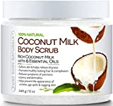 Pure Body Naturals Coconut Milk Body Scrub Exfoliator with Dead Sea Salt, 12 Ounce