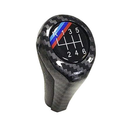 Cambio de Palanca del Cambio del Coche, Fibra de Carbono Alta luz Perilla de Cambio Manual del Cambio de Marchas para E46 E53 E60 E61 E63 E65 E81 E82 ...