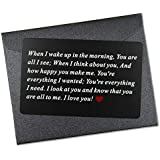 Vanfeis Metal Engraved Wallet Insert Card - Wedding Anniversary Gifts for Him, Husband - Funny Birthday Gifts for Men, Boyfriend - Unique Engagement Present for Groom and Valentine's Day Gift Ideas