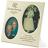 Dicksons 50th Wedding Anniversary Oval Double Picture Resin Stone Picture Frame