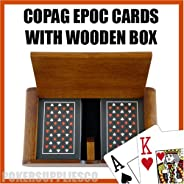 Copag Wooden Box Set with EPOC Jumbo Index and Narrow Bridge Size 100% Plastic Playing Cards