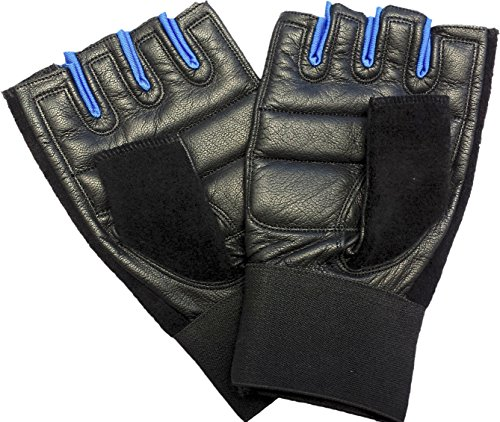 Premium Leather Workout Gloves for Gym, Fitness and Crossfit Training (Blue, Large)