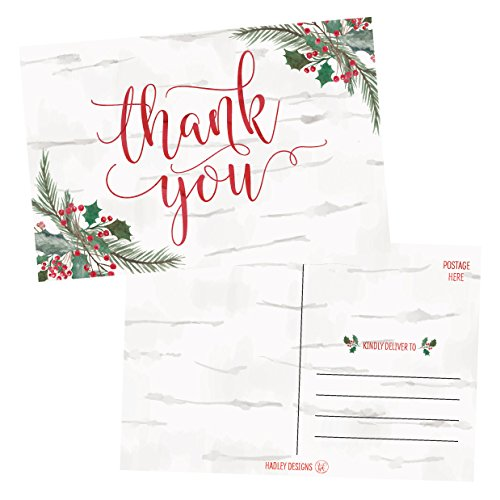 (25 4x6 Woodland Christmas Holiday Thank You Postcards Bulk, Blank Cute Modern Fancy Winter Note Card Stationery For Wedding, Bridesmaids, Bridal or Baby Shower, Teachers, Religious, Business Cards)