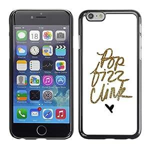 Cubierta de la caja de protección la piel dura para el Apple iPhone 6 (4.7) - pop text gold glitter minimalist hear white