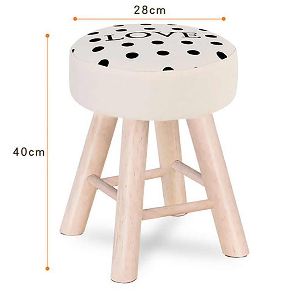 D&L Solid wood Round Footstool,Ottoman Pouffe Cute Stool For Kids Thicken Cushion 4 legs And Removable Linen Cover-A L28xW28xH40cm