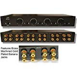 2 Amp x 4 Pair Speaker Selector Switch Switcher Volume Control, Commercial Grade Brass Jacks