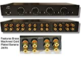2 Amp x 4 Pair Speaker Selector Switch Switcher Volume Control, Commercial Grade Brass Jacks