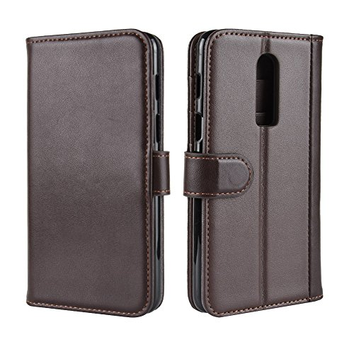 AICEDA OnePlus 6 Case, OnePlus 6 Wallet Case,Shell, Premium Slim Leather Wallet Back Case with Credit Card ID Holder Protective Case Replacement for OnePlus 6,Brown