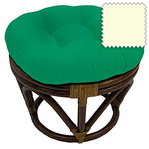 18-Inch Bali Rattan Papasan Footstool with Cushion - Solid Twill Fabric, Eggshell - Eggshell