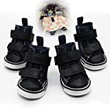 #6: Fashion Black Dog Boots Breathable and Protect Paws Thicker Bottom Antiwear Soft Sport Dog Shoes Antislip Washable Strap Velcro Leather Dog Booties for Puppy Large Medium Small Dogs (4 piece)