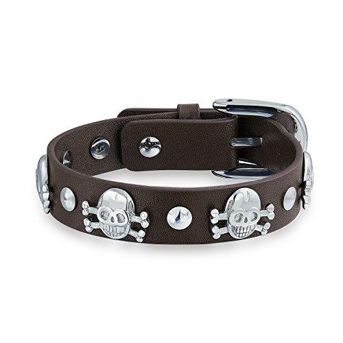 Bling Jewelry Skulls Crossbones Genuine Brown Leather Studded Rivet Stainless Steel Cuff Bracelet for Men for Women Bikers Belt Buckle