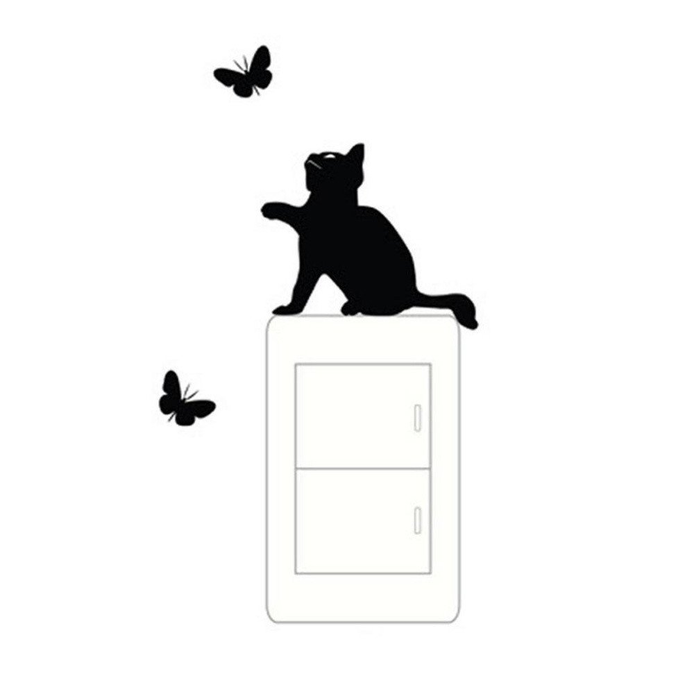 I Topgrowth Wall Sticker Tre Gatti Animale Domestico Camera Finestra Adesivo da Parete Decorazione Murale Removibile
