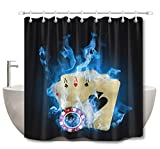 LB Cool Poker Cards in Blue Fire Shower Curtains Set, Casino Gambling Themed Curtain, 70x70 Bathroom Curtain Waterproof Anti Mold