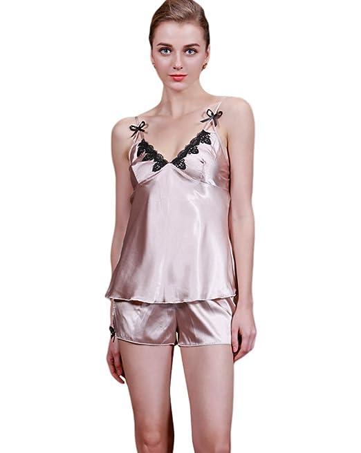 Niseng Mujer Lencería Pijama Conjunto De Tirantes Y Pantalones Escote En V Broncearse