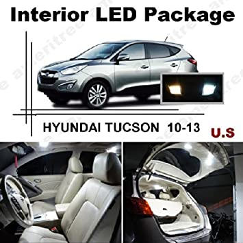 ameritree Hyundai Tucson 2010 - 2013 (7 pcs), xenón blanco LED luces interior kit de paquete y color blanco LED de la matrícula: Amazon.es: Informática