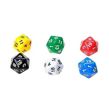 Baosity 6pcs 20 Seitige Spiele Würfel W20,D20/Dice 6 Farben: Amazon ...