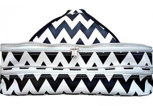 Party Insulated Casserole Covered Dish Carrier You Choose Color Orange Blue Pink Black or Green (Black Chevron Print) (Insulated Cake Pan Carrier compare prices)