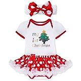 FEESHOW Newborn Infant Baby Girls Christmas Outfit Costumes Fancy Dress Romper Tutu Skirt with Headband Set