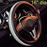 Sino Banyan Bling Steering Wheel Cover 16 inch for Women, Extra Large,PU Leather with Bling Bling Rhinestones