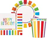 """Rainbow Birthday Party Supplies for 16 guests - 16 Plates 9"""", 16 Cups 9"""" and 16 Napkins."""
