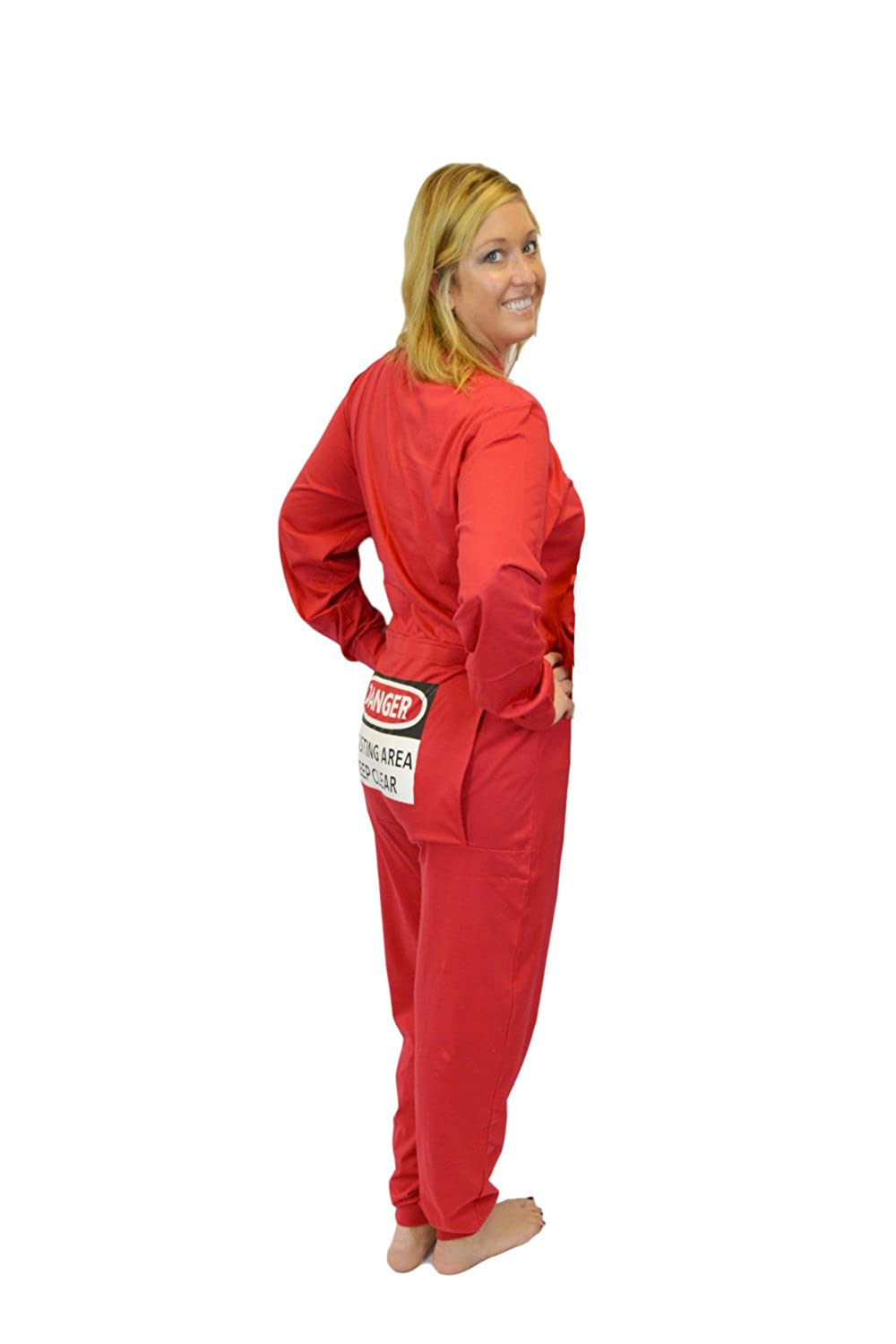 Red Union Suit Men & Women Onesie Pajamas with Funny Butt Flap Danger Blasting Area 354-BLST