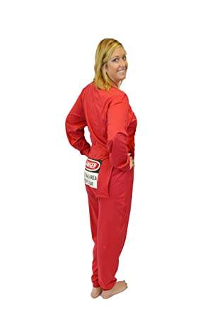 0576f0af60 Red Union Suit Onesie Pajamas with Funny Butt Flap Danger Blasting Area (XS)