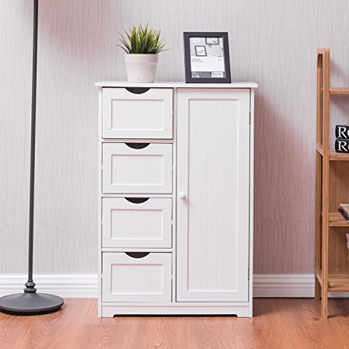 Giantex Wooden 4 Drawer Bathroom Free Standing Cabinet Storage Cupboard 2 Shelves, Wooden Spacesaver Cabinet