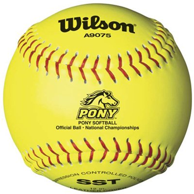 (Wilson A9075 Pony League Softball (12-Pack), Optic Yellow, 12-Inch)