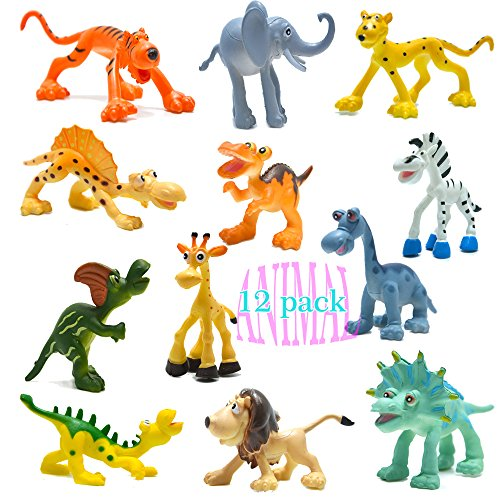 """4"""" Carton Dinosaur Figures with Forest Animals Set,12 Piece Wild Pastic Animal and Dino Party Favors Toys Playset"""