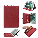 TechCode 4th Gen iPad Mini Case, Luxury PU Leather Business Smartshell Flip Case with Multi Veiw Angles & Pen Sleeve &Card Slots Pocket Book Stand Cover for iPad Mini 1/ Mini 2/ Mini 3/ Mini 4, Red